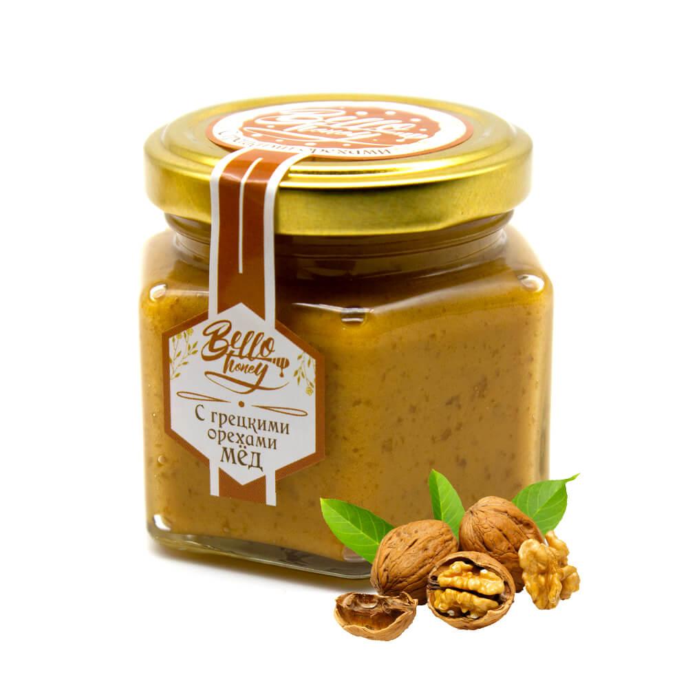 Крем-мед с грецкими орехами BelloHoney